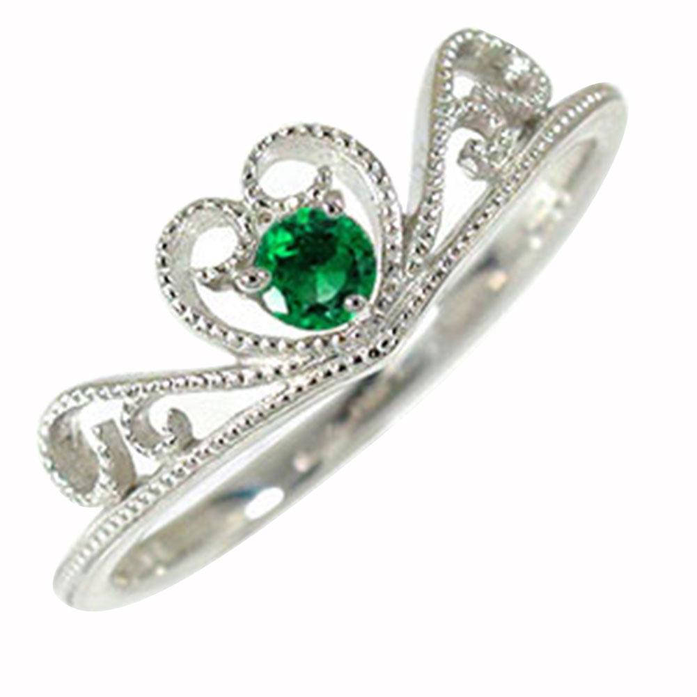 エメラルド ティアラ ハート 指輪 リング ミル ダイヤモンド プラチナ ピンキー 送料無料