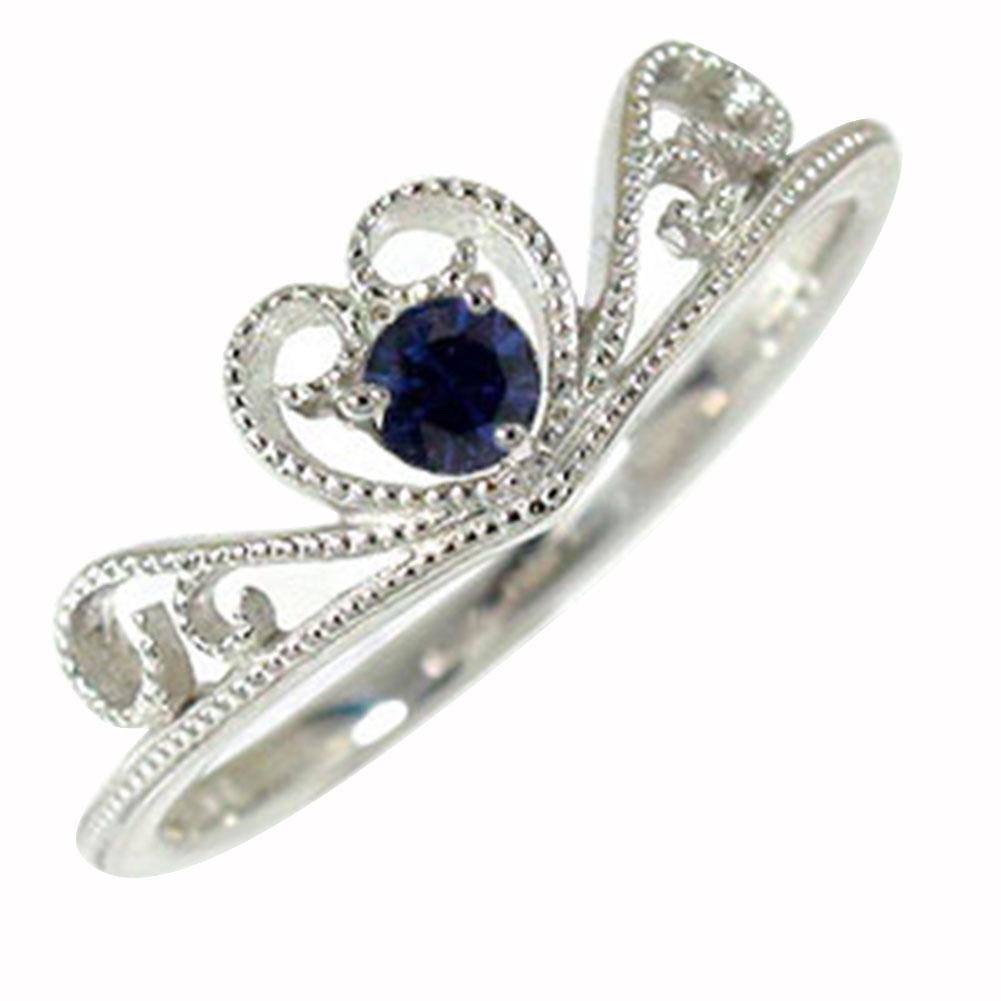 ハート ティアラ サファイア リング ダイヤモンド ピンキー 18金 指輪 ミル 送料無料