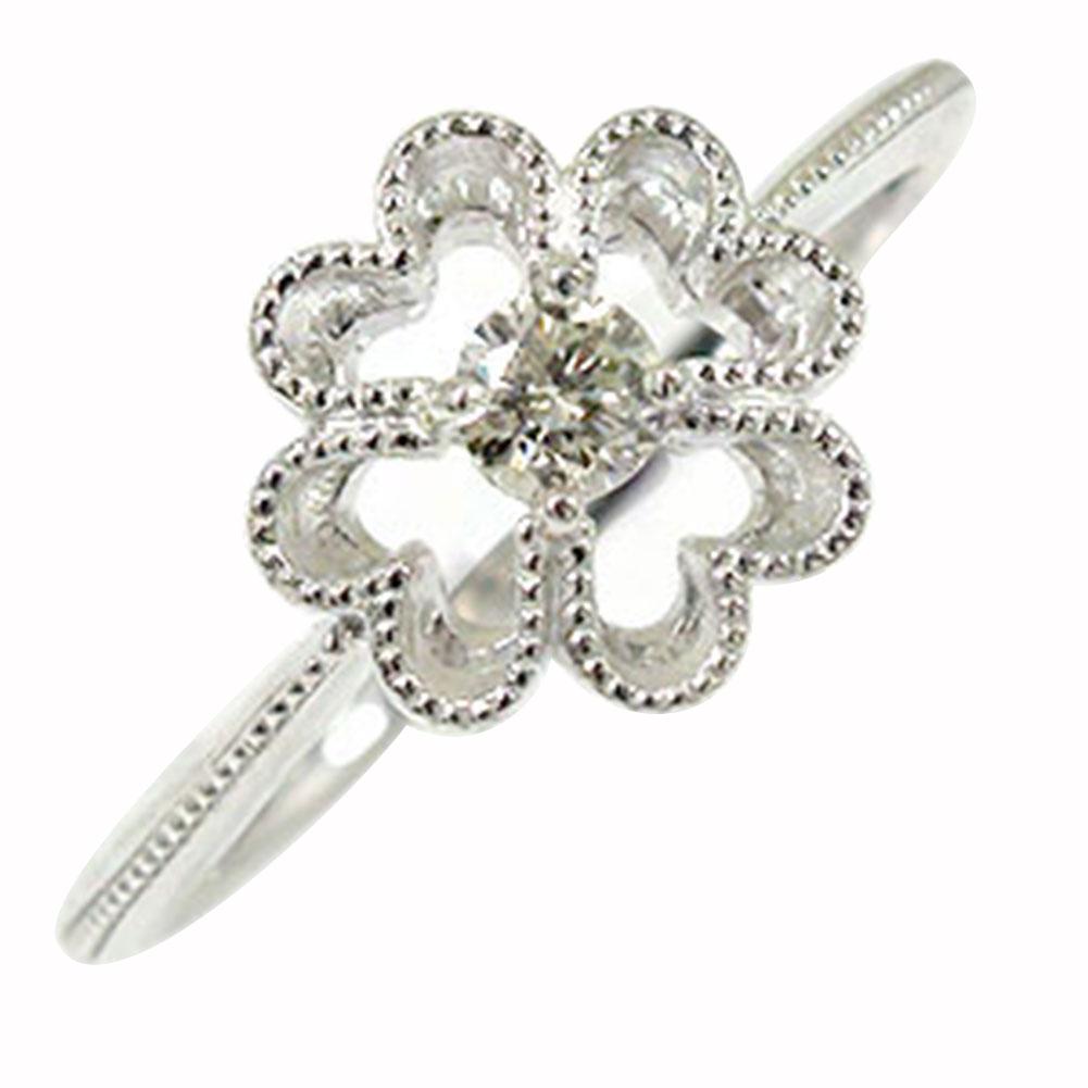 クローバー ダイヤモンド ミルリング 18金 指輪 四葉 ピンキー 送料無料