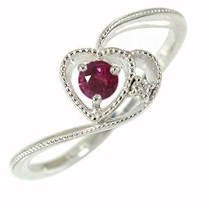 ルビー ハート 指輪 リング プラチナ ミル 天使の矢 ルメート ピンキー ダイヤモンド 送料無料