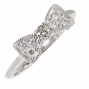 ダイヤモンド リボン リング プラチナ 指輪 ピンキー リボン 送料無料