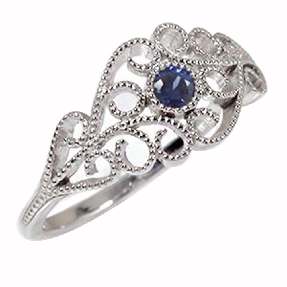 サファイア 唐草模様 リング アラベスク プラチナ 指輪 ピンキー 送料無料
