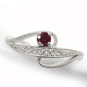 流れ星 リング 18金 ルビー 指輪 ルメート ダイヤモンド ピンキー 送料無料