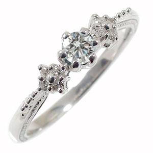【送料無料】ダイヤモンドリング 花 ピンキー フラワーモチーフ 10金 結婚指輪 婚約指輪 エンゲージリング 花束