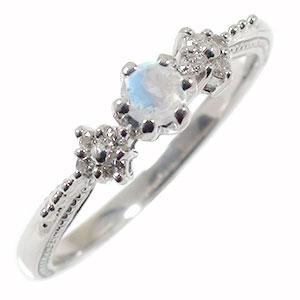 10/4 20時~ ブルームーンストーンリング 花 指輪 ピンキー 花束 フラワーモチーフ 10金 送料無料 買い回り 買いまわり