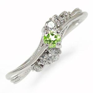 プラチナリング ペリドット 指輪 絆 ピンキーリング 誕生石【送料無料】