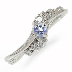 プラチナリング タンザナイト 絆 指輪 誕生石 ピンキーリング【送料無料】