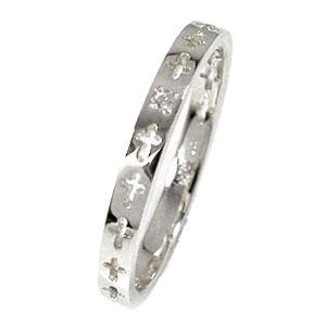 エタニティーリング クロス プラチナ900 ダイヤモンド ピンキーリング 結婚指輪 マリッジリング メンズ【送料無料】