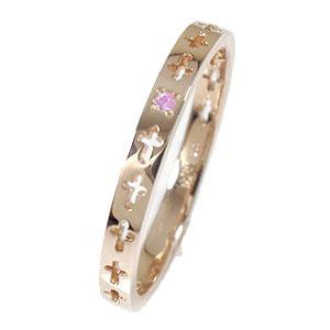 ピンクサファイア クロスエタニティーリング 18金 ピンキーリング 結婚指輪 マリッジリング【送料無料】