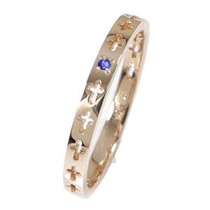 クロスエタニティーリング サファイア 18金 ピンキーリング 結婚指輪 マリッジリング【送料無料】