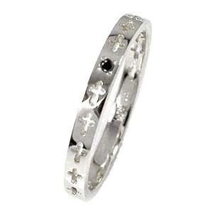 ブラックダイヤモンド エタニティーリング クロス プラチナ900 ピンキーリング 結婚指輪 マリッジリング メンズ【送料無料】