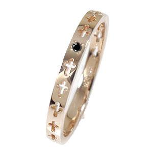 ピンキーリング クロスエタニティーリング ブラックダイヤモンド 18金 結婚指輪 マリッジリング メンズ【送料無料】