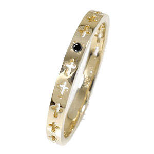 エタニティーリング クロス 10金 ダイヤモンド ピンキーリング 結婚指輪 マリッジリング メンズ【送料無料】