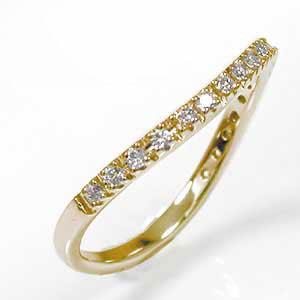 ダイヤモンド リング ハーフエタニティ― 10金 0.20ct カーブ 指輪 ダイアピンキー エタニティ【送料無料】