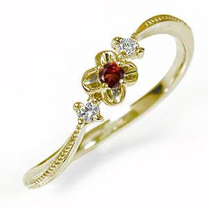 10/4 20時~ 花 フラワーモチーフ ピンキーリング 10金 ガーネット ダイヤモンド 誕生石 トリロジー 指輪 送料無料 買い回り 買いまわり