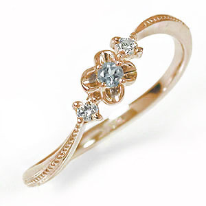 10/4 20時~ ピンキーリング 18金 アクアマリン ダイヤモンド 花 フラワーモチーフ 誕生石 トリロジー 指輪 送料無料 買い回り 買いまわり