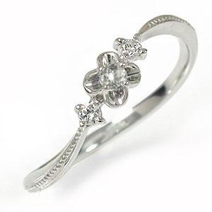 【送料無料】ダイヤモンド リング プラチナ トリロジー ピンキー 結婚指輪 婚約指輪 エンゲージリング フラワーモチーフ 花 誕生石