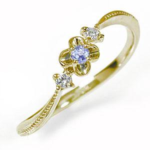 10/4 20時~ 花 フラワーモチーフ ピンキーリング 10金 トリロジー 誕生石 指輪 タンザナイト ダイヤモンド 送料無料 買い回り 買いまわり