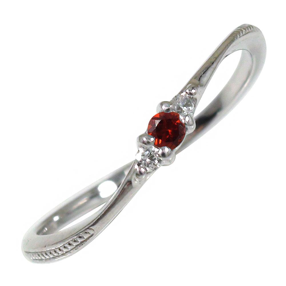 ガーネット リング プラチナ ミル 誕生石 トリロジー ピンキー 指輪【送料無料】