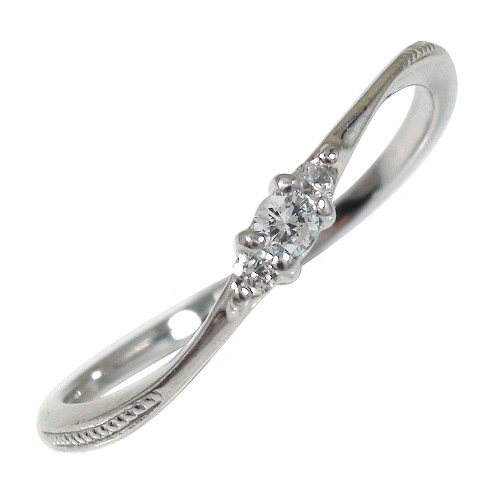 【送料無料】ダイヤモンド リング プラチナ トリロジー ピンキー 結婚指輪 婚約指輪 エンゲージリング ミル 誕生石