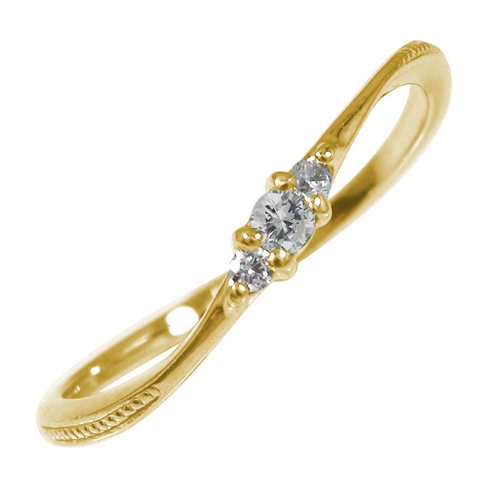 【送料無料】ミル ピンキーリング 10金 誕生石 トリロジー ダイヤモンド 結婚指輪 婚約指輪 エンゲージリング