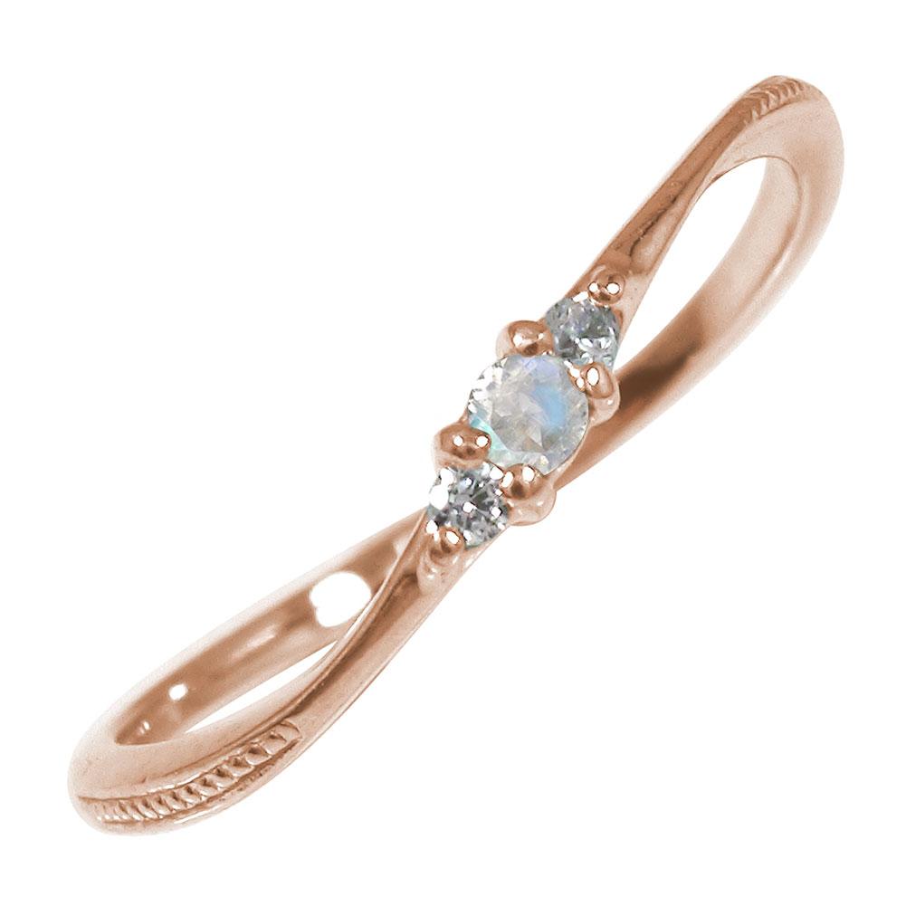 10/4 20時~ ピンキーリング 18金 ブルームーンストーン ミル ダイヤモンド トリロジー 誕生石 指輪 送料無料 買い回り 買いまわり