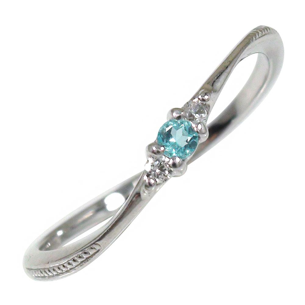 【あす楽対応商品】ブルートパーズ リング プラチナ ミル 誕生石 トリロジー ピンキー 指輪【送料無料】