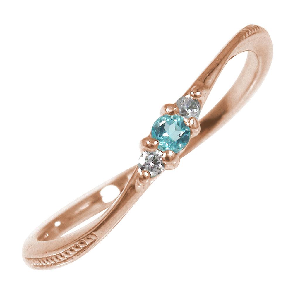 ピンキーリング 18金 ブルートパーズ ミル ダイヤモンド トリロジー 指輪 誕生石【送料無料】