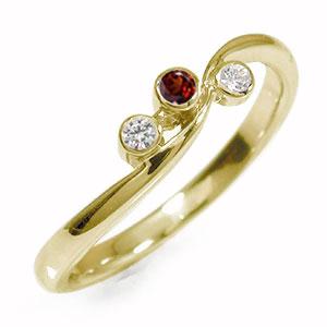 10/4 20時~ トリロジー 10金 ガーネット ダイヤモンド 誕生石 ピンキーリング 指輪 送料無料 買い回り 買いまわり