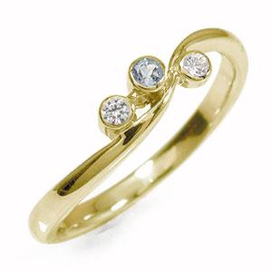 10/4 20時~ トリロジー 10金 アクアマリン ダイヤモンド 指輪 誕生石 ピンキーリング 送料無料 買い回り 買いまわり