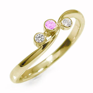 10/4 20時~ トリロジー 10金 ピンクサファイア ピンキーリング 指輪 ダイヤモンド 誕生石 送料無料 買い回り 買いまわり