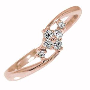 【送料無料】ピンキーリング 18金 ダイヤモンド ひし形 結婚指輪 婚約指輪 エンゲージリング 誕生石