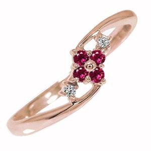 10/4 20時~ ピンキーリング 18金 ルビー 誕生石 ダイヤモンド ひし形 指輪 送料無料 買い回り 買いまわり