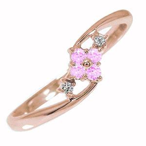 10/4 20時~ ピンキーリング 18金 ピンクサファイア 誕生石 ひし形 指輪 ダイヤモンド 送料無料 買い回り 買いまわり