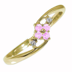 ひし形 10金 ピンクサファイア ピンキーリング 指輪 ダイヤモンド 誕生石【送料無料】