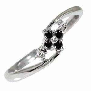 ブラックダイヤモンド リング プラチナ ひし形 ピンキー 指輪 誕生石【送料無料】