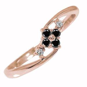 10/4 20時~ ピンキーリング 18金 ブラックダイヤモンド ひし形 指輪 誕生石 送料無料 買い回り 買いまわり