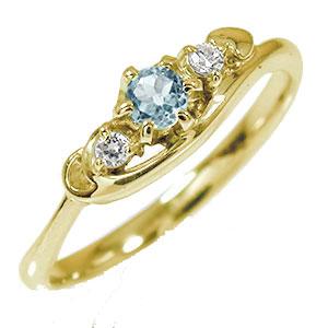 トリロジー 10金 アクアマリン ダイヤモンド ハート 指輪 誕生石 ピンキーリング【送料無料】