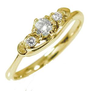 【送料無料】トリロジー 10金 誕生石 ピンキーリング ダイヤモンド ハート 結婚指輪 婚約指輪 エンゲージリング