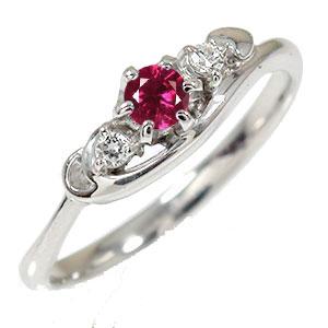 ルビー リング プラチナ ピンキー 誕生石 トリロジー ハート ダイヤモンド 指輪【送料無料】
