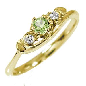 トリロジー 10金 ペリドット ハート 指輪 誕生石 ダイヤモンド ピンキーリング【送料無料】