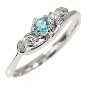 ブルートパーズ リング プラチナ 誕生石 トリロジー ピンキー ハート ダイヤモンド 指輪【送料無料】