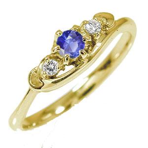 10/4 20時~ トリロジー ピンキーリング ハート 指輪 10金 サファイア 誕生石 ダイヤモンド 送料無料 買い回り 買いまわり