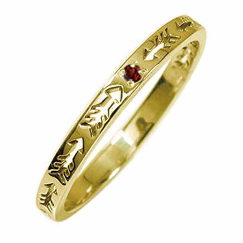 インディアンジュエリー ネイティブアメリカン 10金 ガーネット 誕生石 ピンキーリング 矢 アロー 大人 エタニティ 結婚指輪 マリッジリング【送料無料】