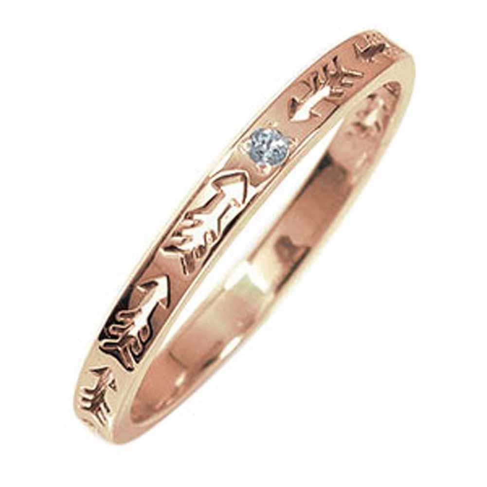 10/4 20時~ ピンキーリング 18金 アクアマリン 誕生石 インディアンジュエリー ネイティブアメリカン 矢 アロー 大人 エタニティ 結婚指輪 メンズ マリッジリング 買い回り 買いまわり