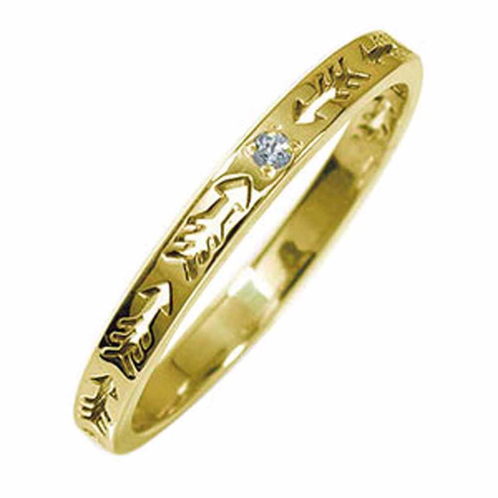 インディアンジュエリー ネイティブアメリカン 10金 アクアマリン 矢 アロー 大人 エタニティ 結婚指輪 マリッジリング 誕生石 ピンキーリング【送料無料】