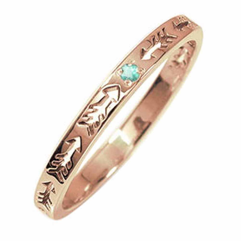 10/4 20時~ ピンキーリング 18金 エメラルド 誕生石 インディアンジュエリー ネイティブアメリカン 矢 アロー 大人 エタニティ 結婚指輪 メンズ マリッジリング 買い回り 買いまわり