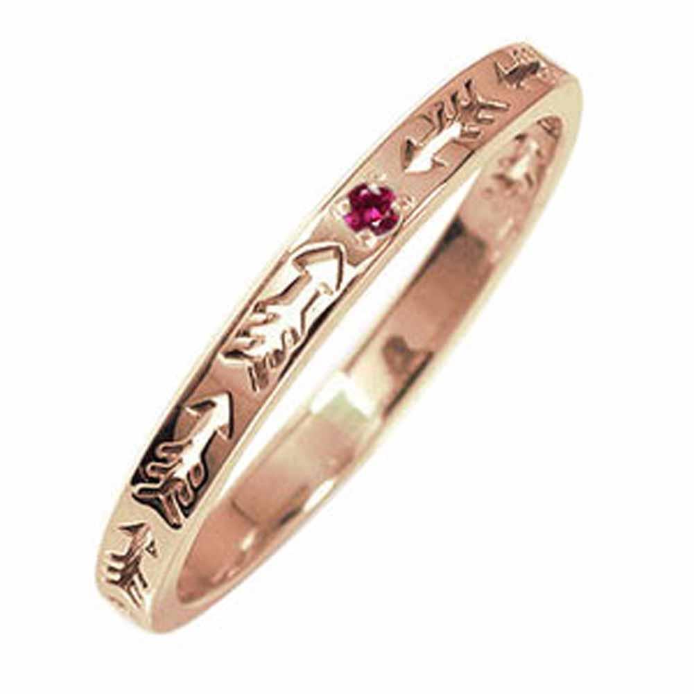 10/4 20時~ ピンキーリング 18金 ルビー 誕生石 インディアンジュエリー ネイティブアメリカン 矢 アロー 大人 エタニティ 結婚指輪 メンズ マリッジリング 買い回り 買いまわり