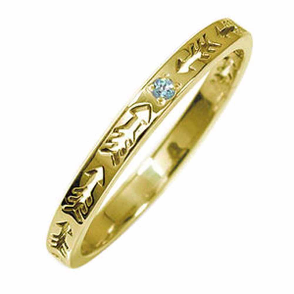 インディアンジュエリー ネイティブアメリカン 10金 ブルートパーズ ピンキーリング 矢 アロー 大人 エタニティ 結婚指輪 マリッジリング 誕生石【送料無料】