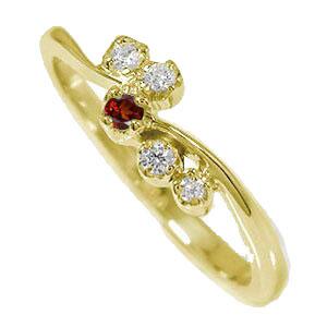 10/4 20時~ 天使の矢 10金 ガーネット ダイヤモンド 誕生石 ピンキーリング 流れ星 指輪 送料無料 買い回り 買いまわり